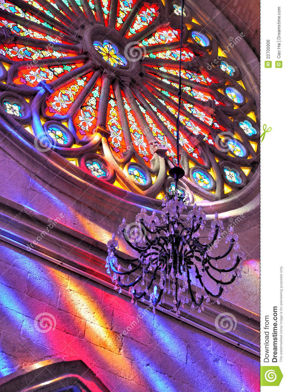 Round Stained Glass Window Church Stock Image