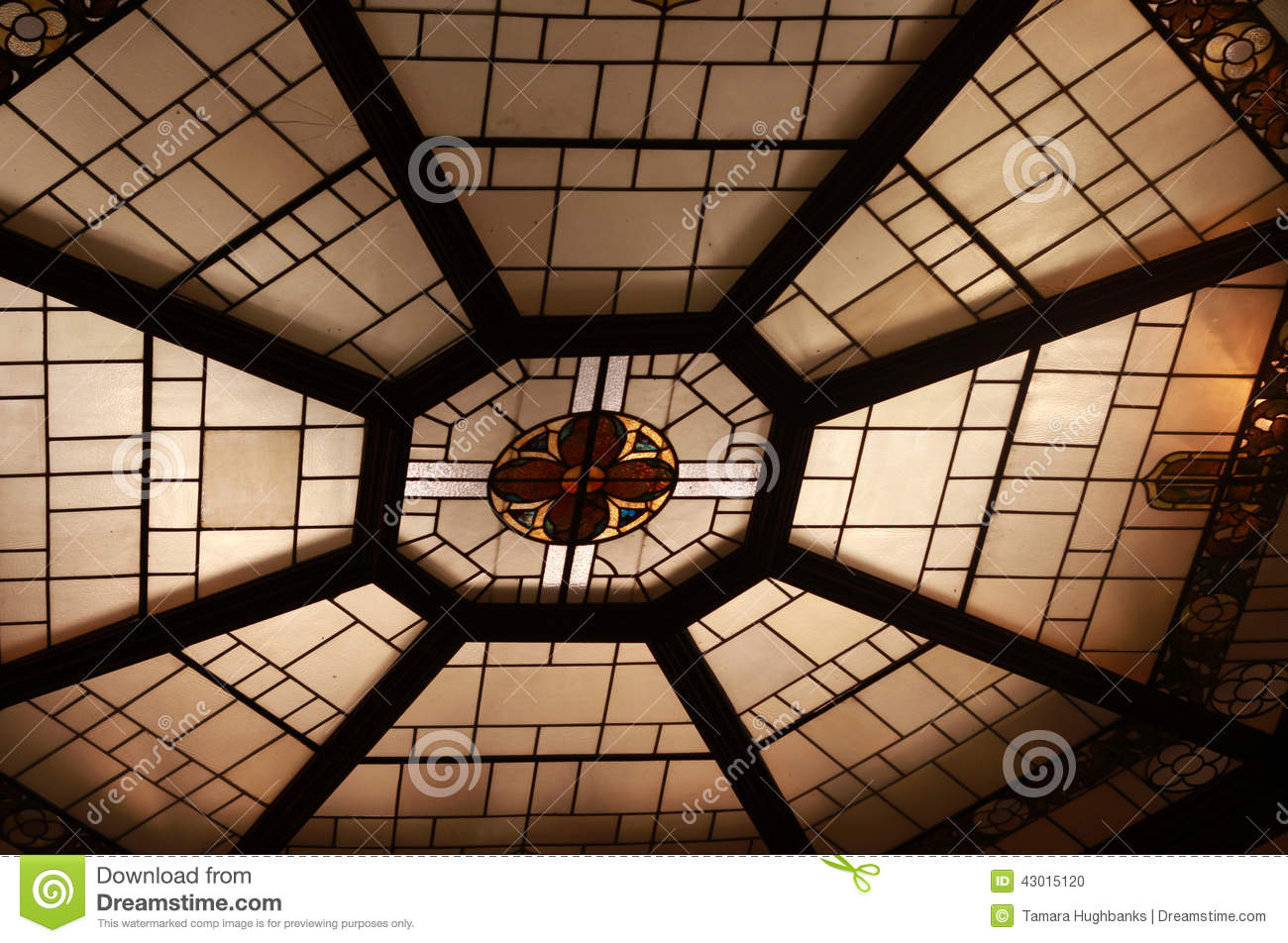 Round Stained Glass Window In Church Stock Photo Image