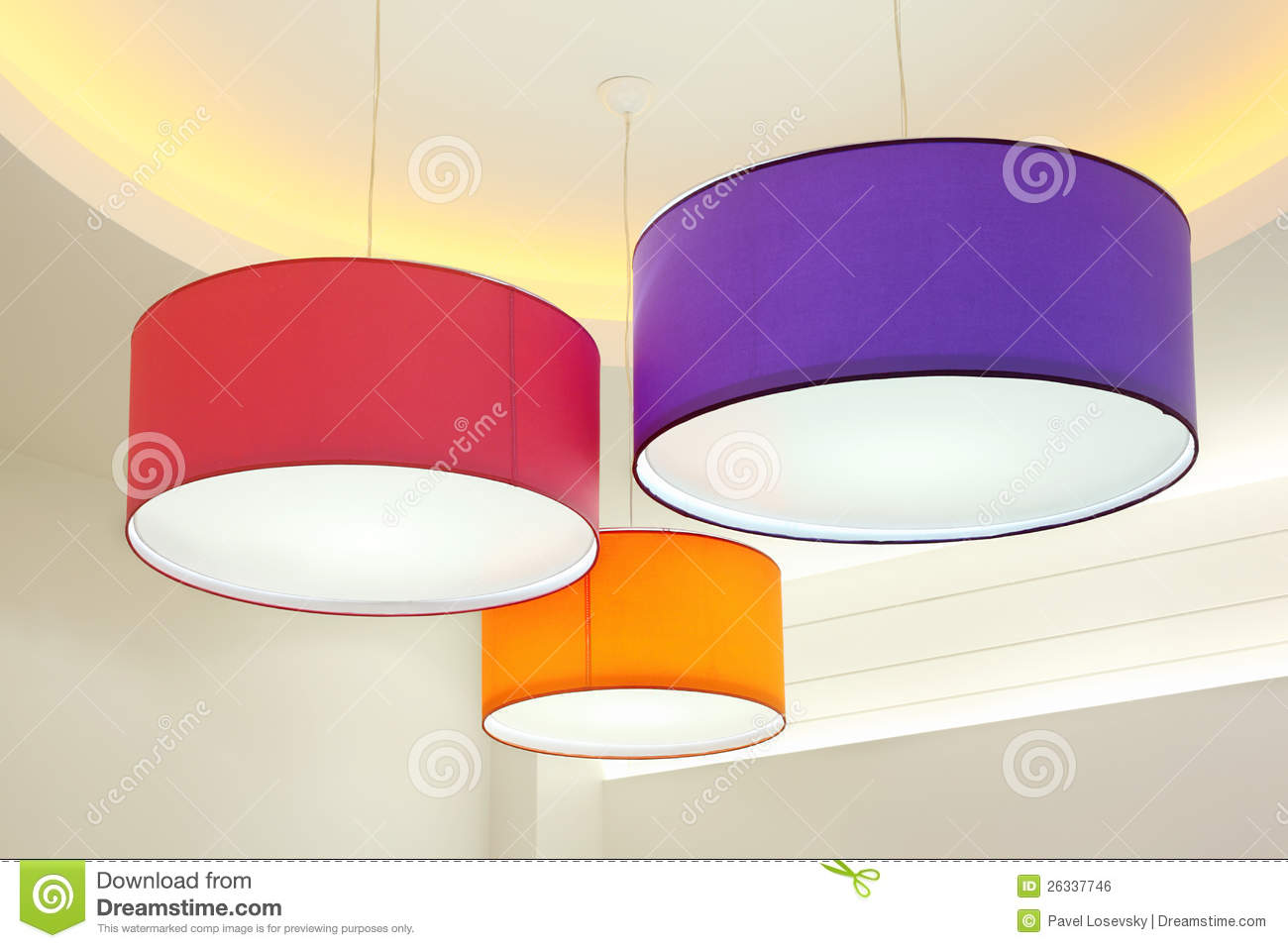 Round Stylish Lampshades Hang From Ceiling Royalty Free