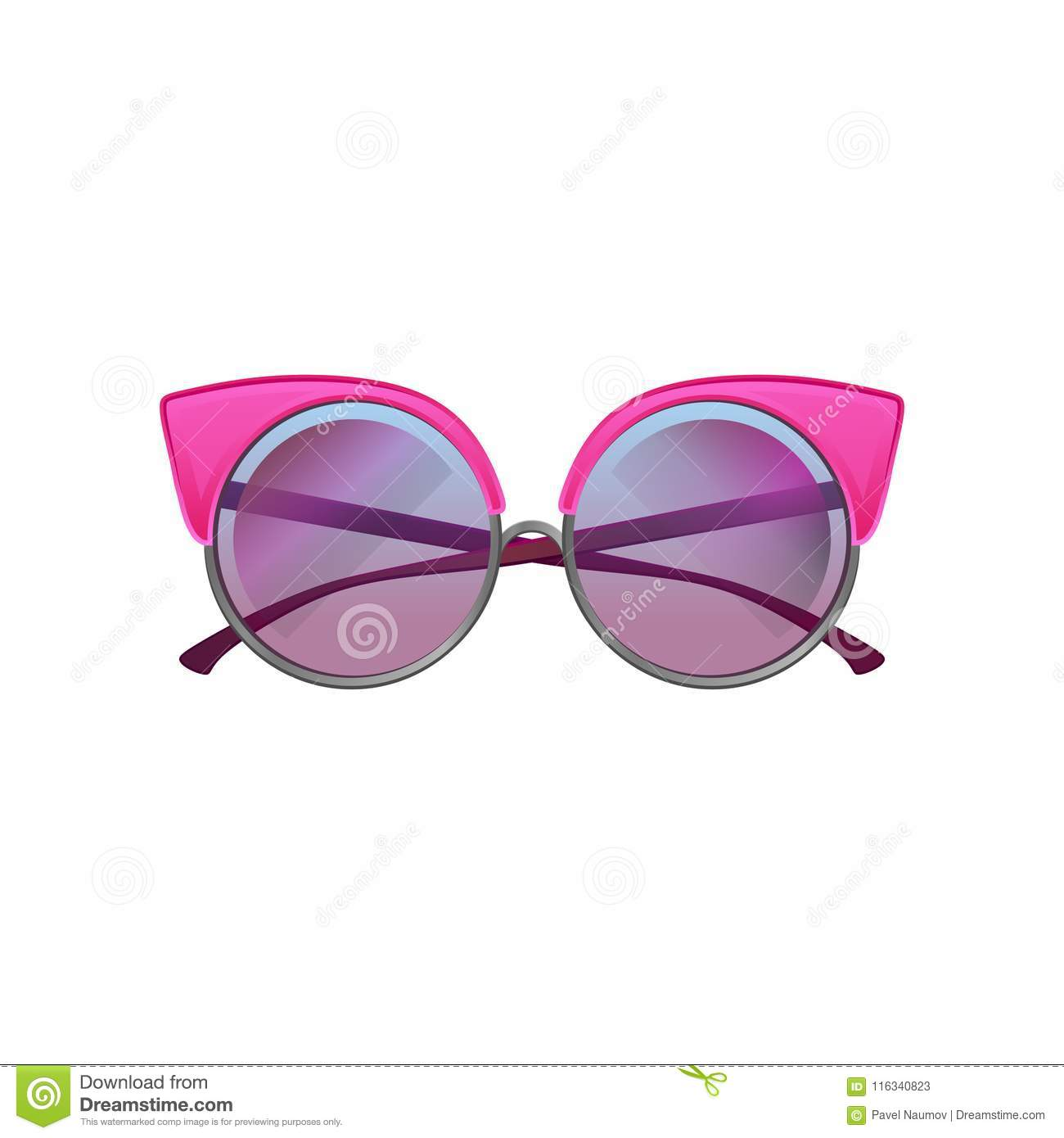 3caada6b82470 Round sunglasses with pink metal frame and purple gradient lenses.  Accessory for stylish women. Cartoon style icon of protective glasses.