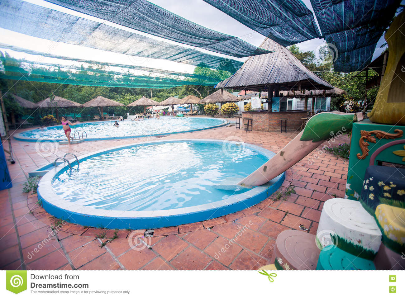 Round Swimming Pools With Accessories By Tropical Hotel Editorial ...