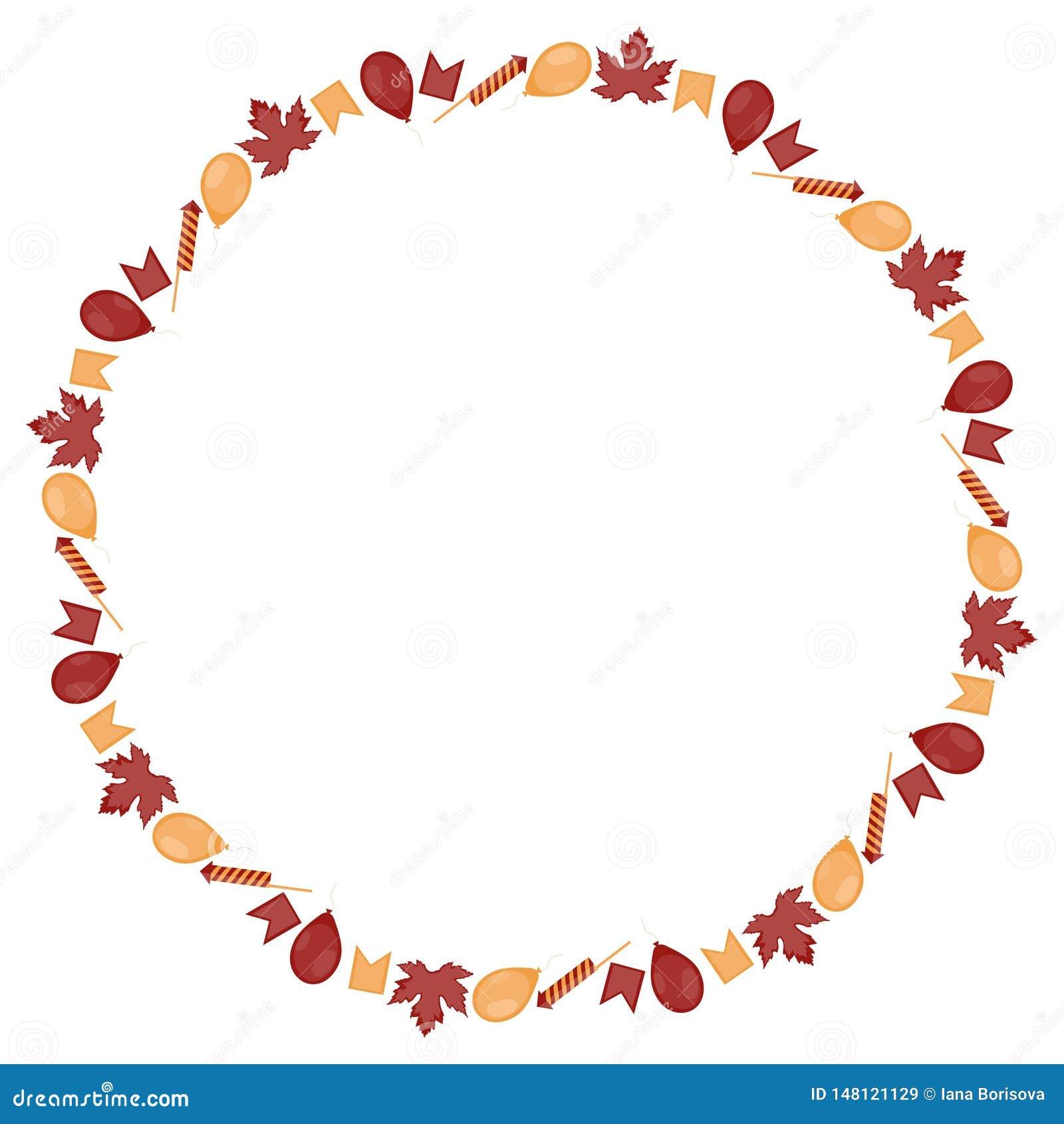 Round sztandar dla Kanada dnia Inskrypcja otacza koloru żółtego małymi liśćmi klonowymi, flagami, piłkami i petardami na a,