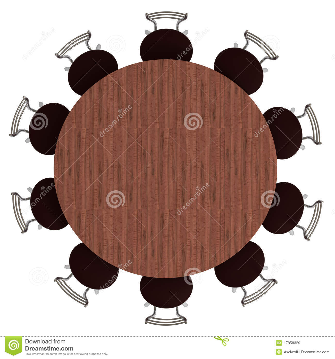 Round Table And Chairs Top View Isolated Royalty Free Stock Images