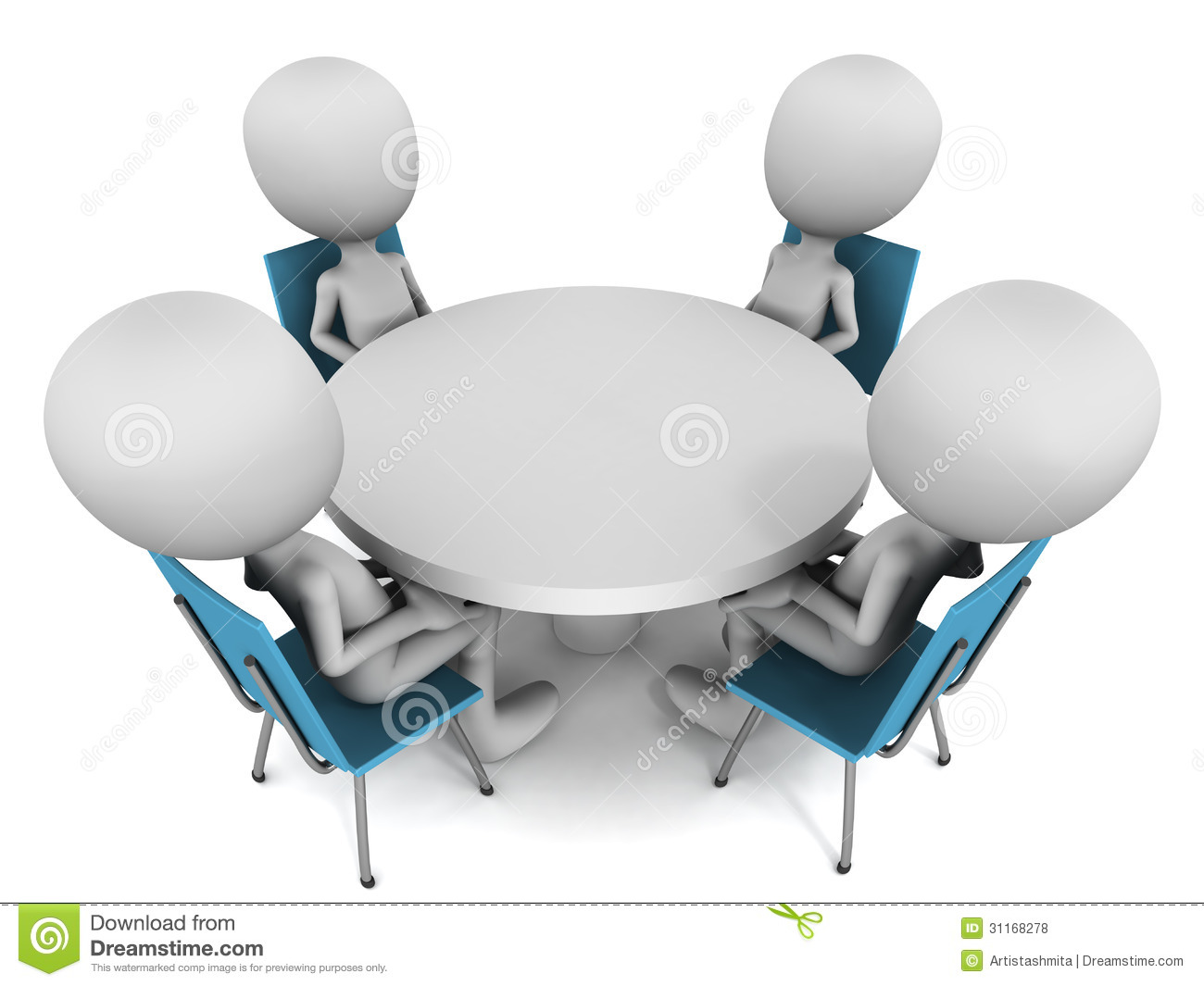 ... round table meeting white background round table conference concept