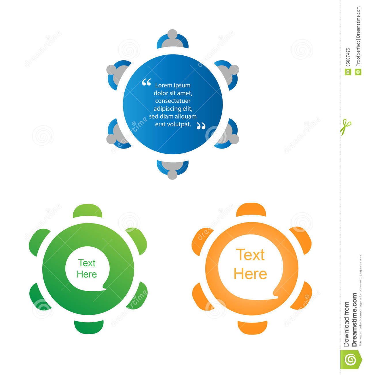 Round table meeting icon - Round Table Discussion Icon Set Royalty Free Stock Photo