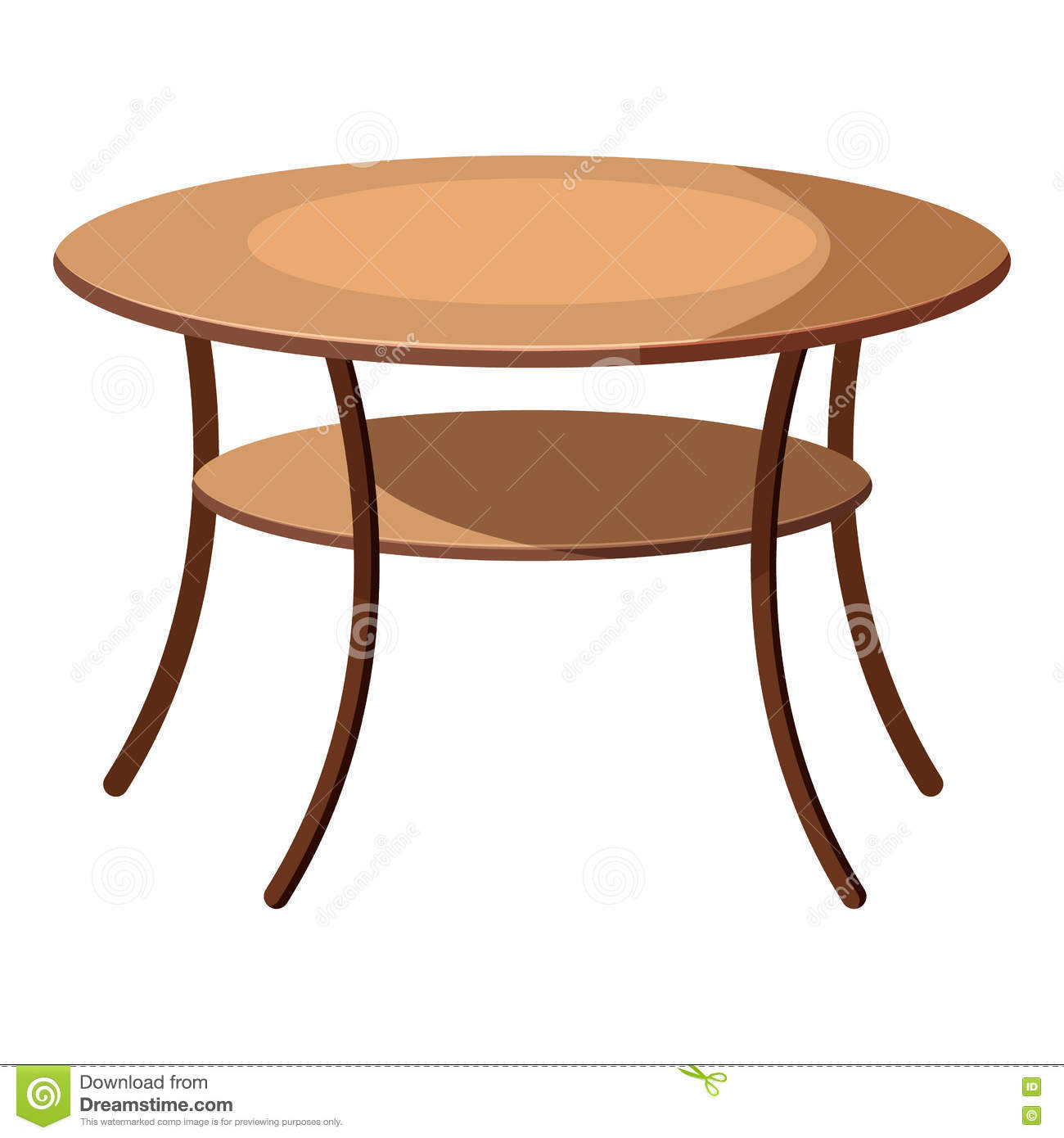 Wooden Round Table Isolated Illustration Cartoon Vector