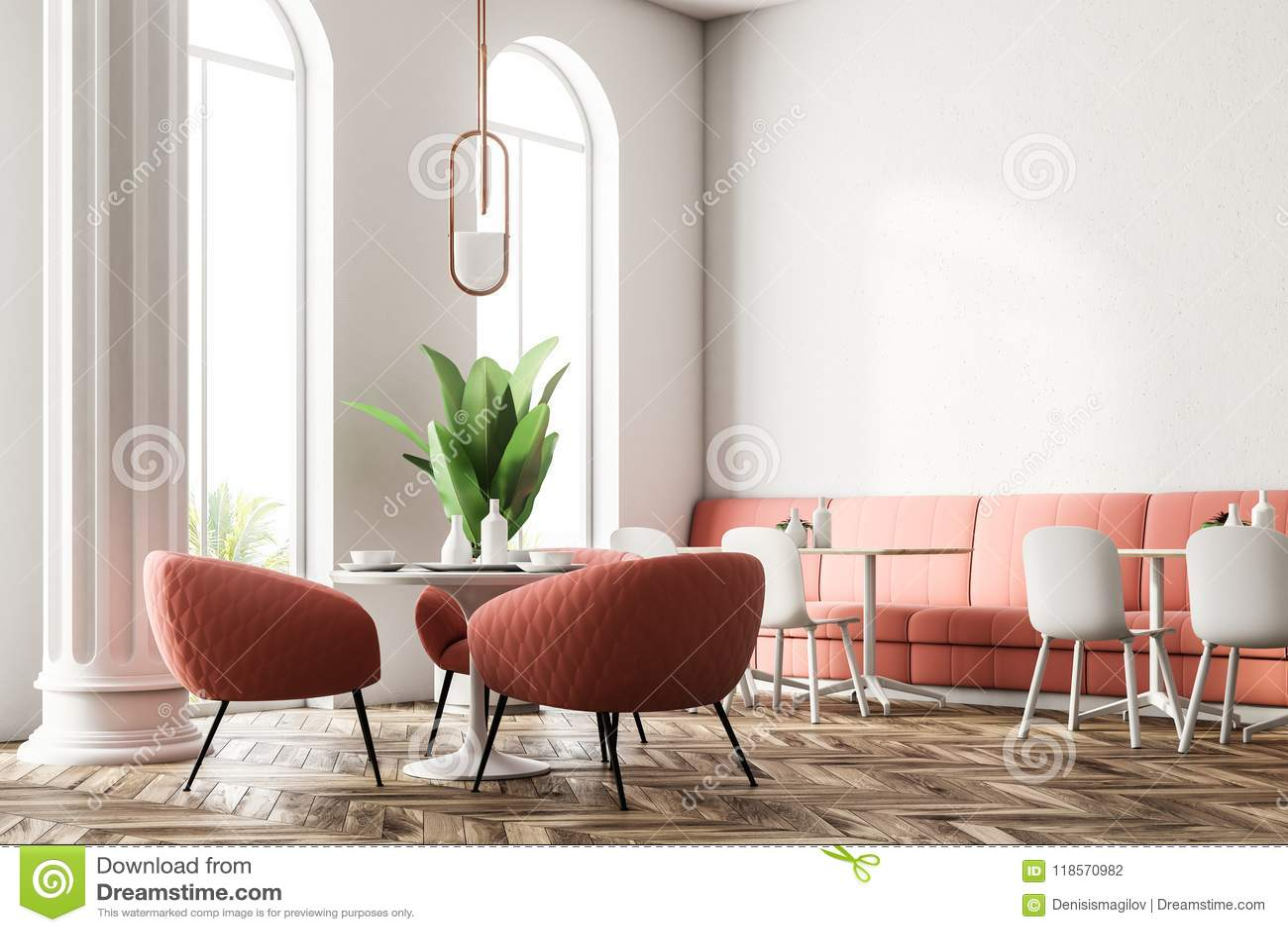 Pink Sofas Modern Restaurant Corner Stock Illustration Illustration Of Decoration Luxury 118570982