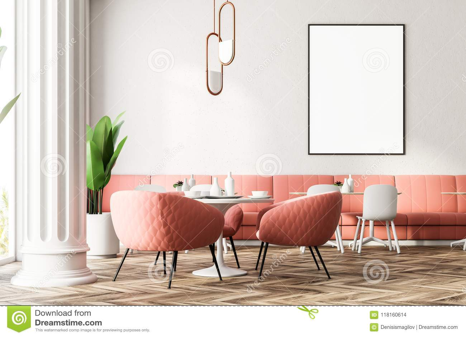 Pink Sofas Modern Restaurant Interior Poster Stock Illustration Illustration Of Lifestyle Banner 118160614