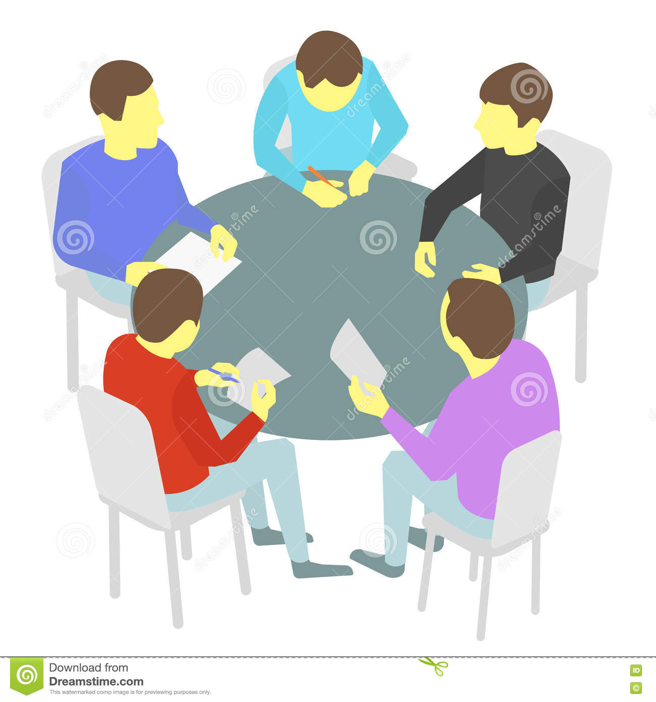 Round Table Talks Group Business People Team Stock Illustrations - Round table clip art