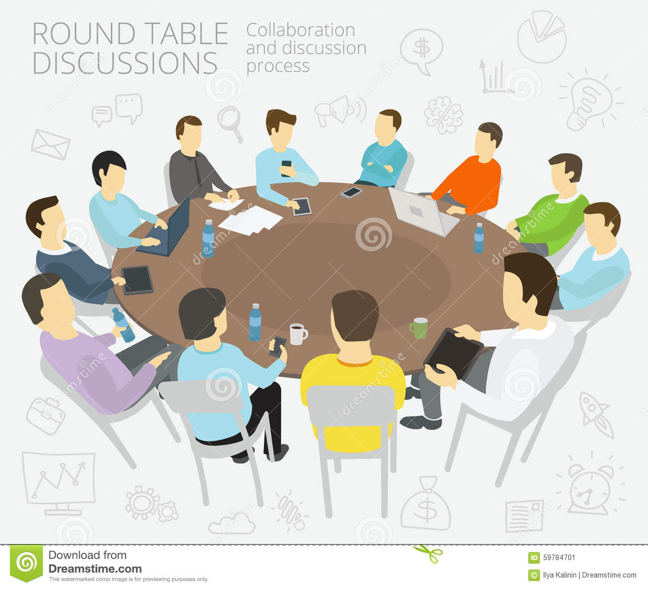 round table talks group of business people team stock. Black Bedroom Furniture Sets. Home Design Ideas