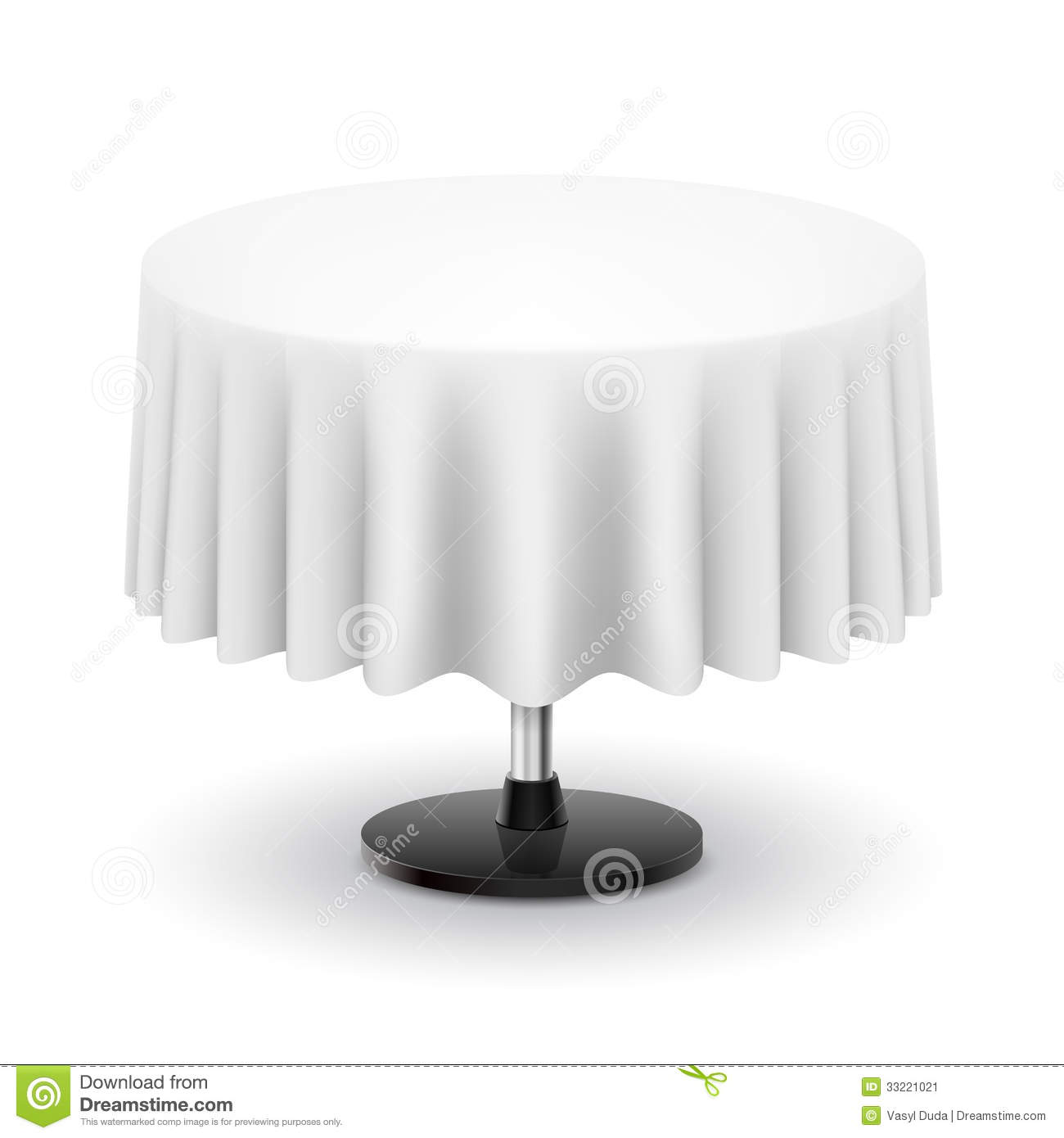 Round Table With White Cloth Stock Illustration