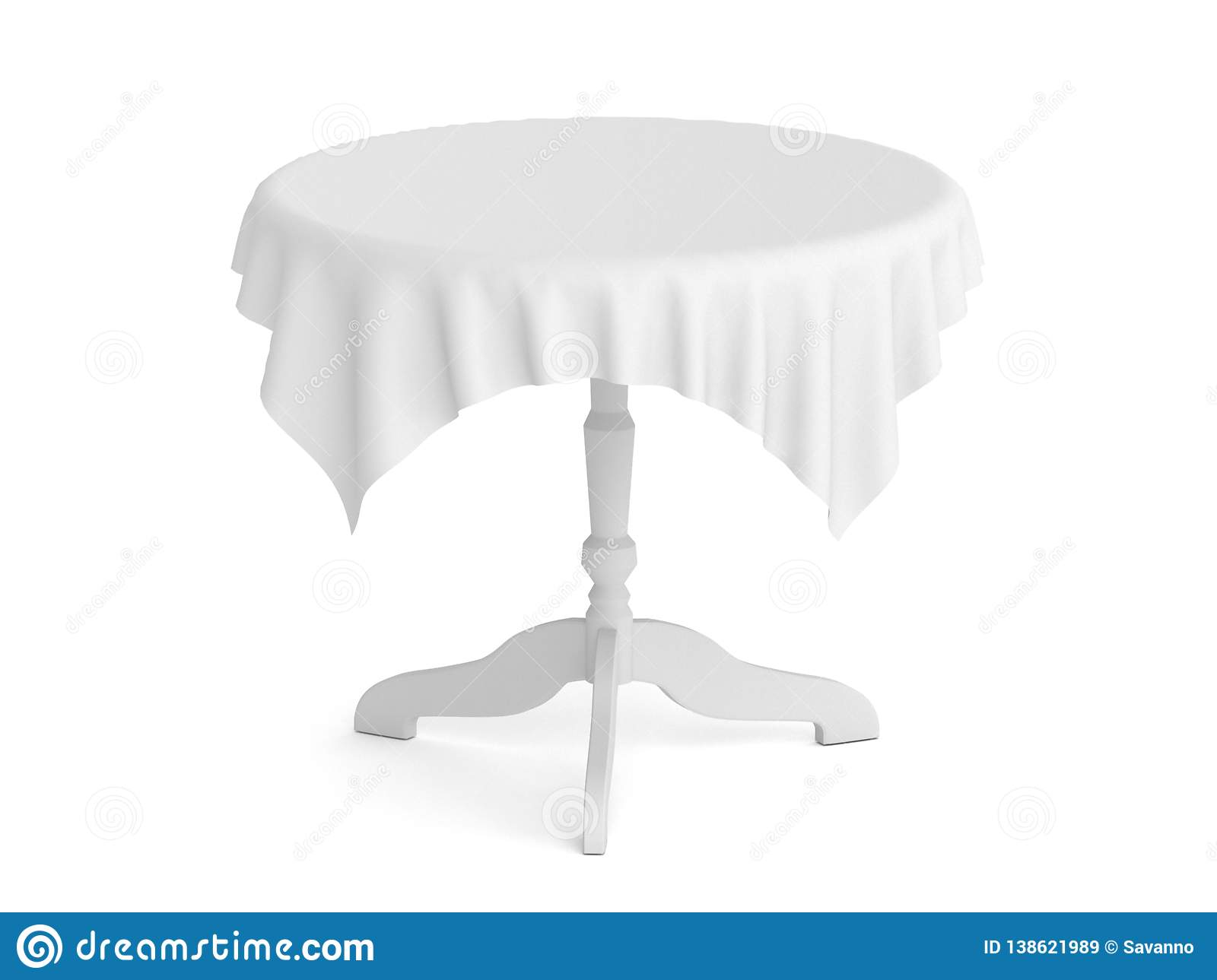 Round Table With Tablecloth.Round Table With White Tablecloth 3d Rendering Illustration Stock