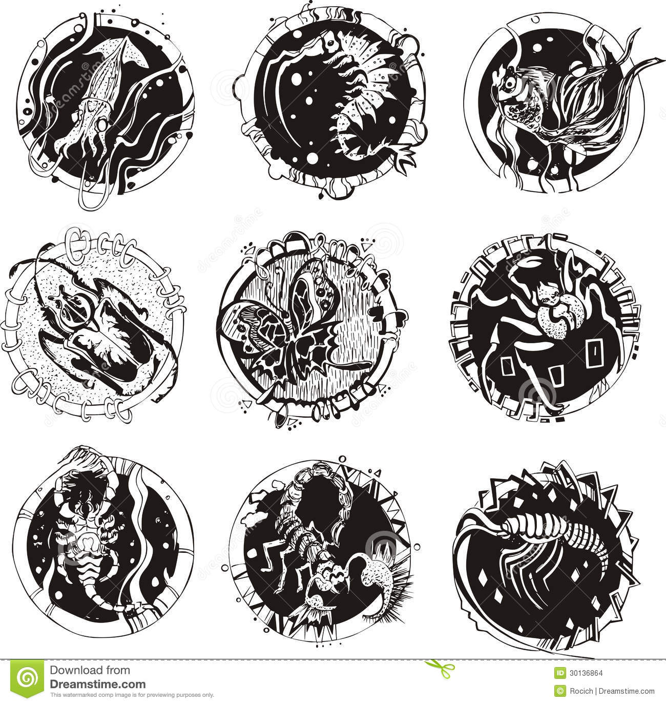 Round tattoos with animals stock vector  Illustration of