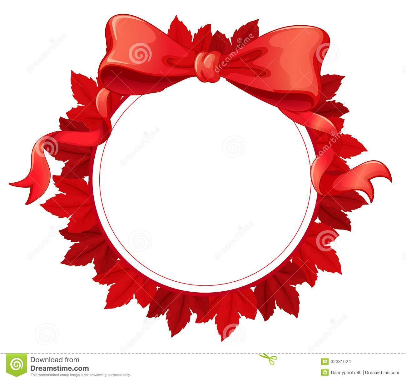 Red gift bows border with clipping path for easy background removing - A Round Template With A Red Ribbon Stock Images