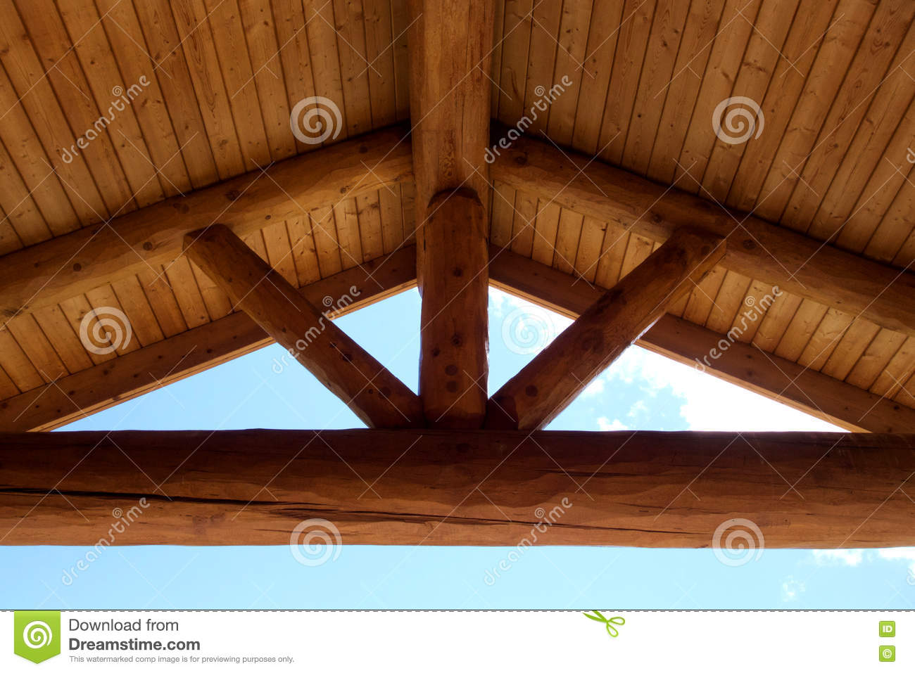 Round Timber Frame Gabel Roof Beams Stock Photo - Image of