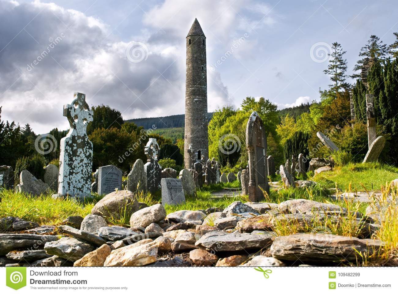Round tower and semetery in Glendalough