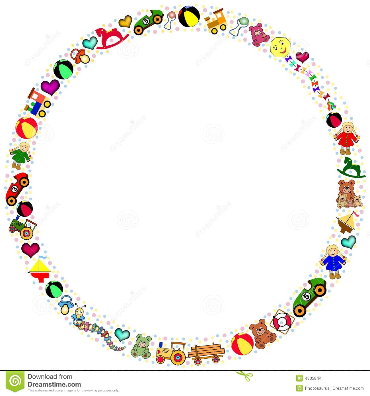 Round Toys Border Stock Vector Illustration Of Celebrate 4835844