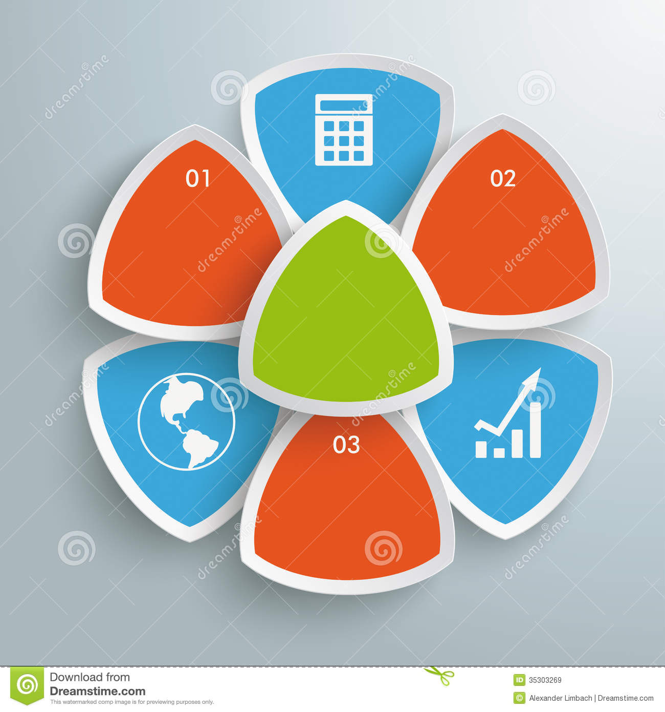 Infographic design on the grey background eps 10 vector file - Round Triangles Flower Infographic Piad Royalty Free Stock