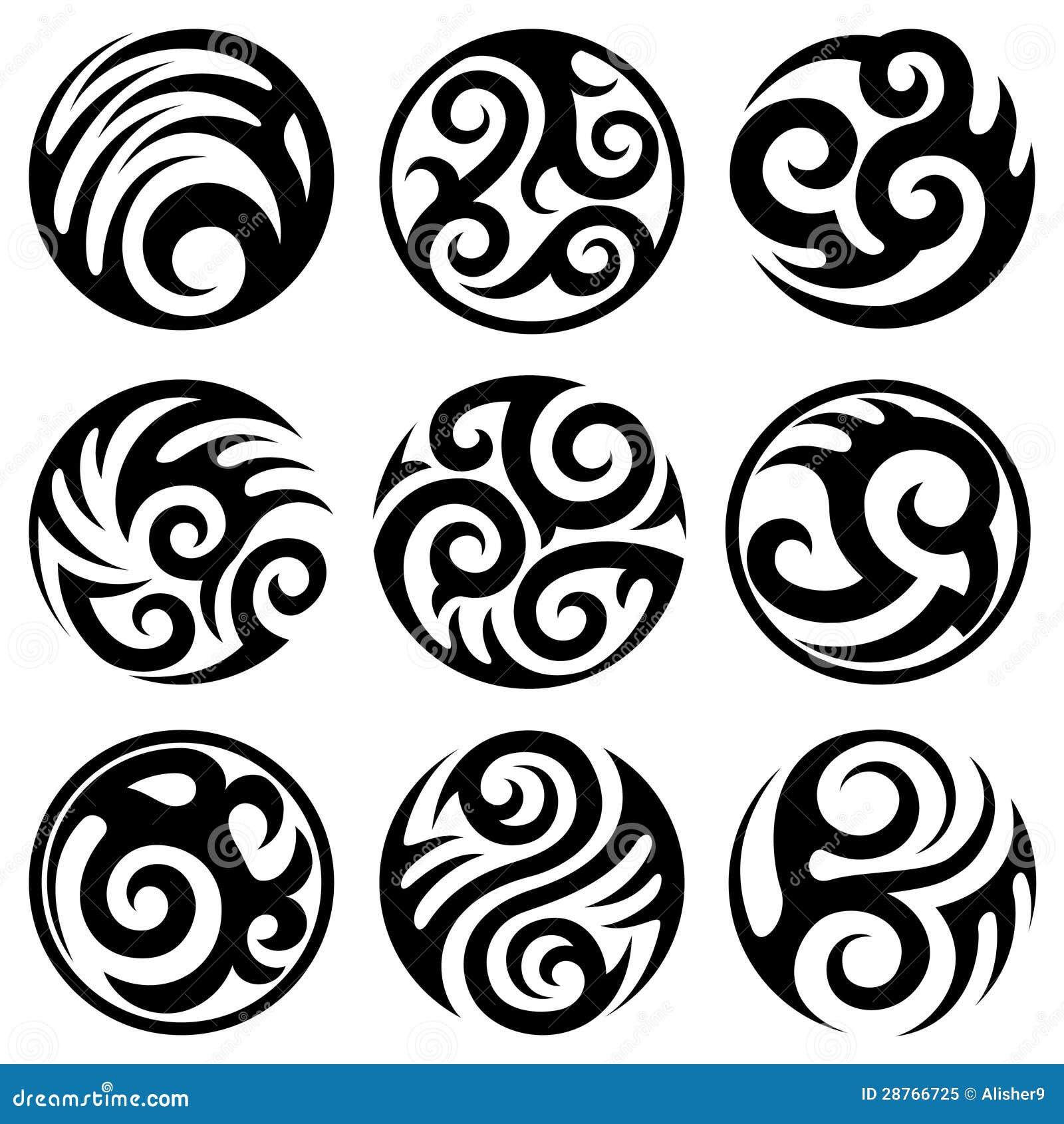 Round tribal tattoos set stock vector illustration of flame 28766725 - Dibujos tribales para tatuar ...
