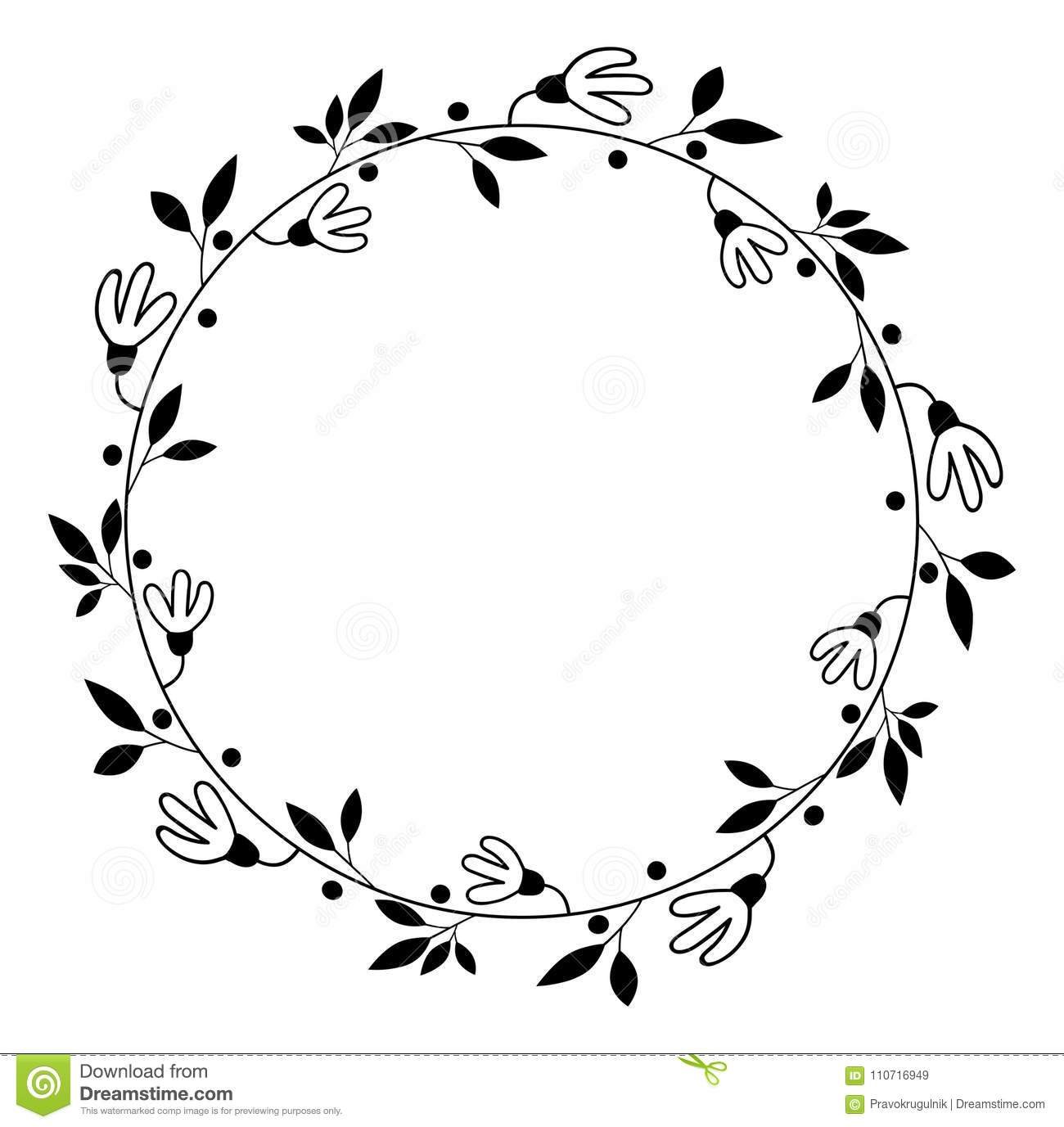 Black Flower Round Up: Round Vector Floral Wreath Border Stock Vector