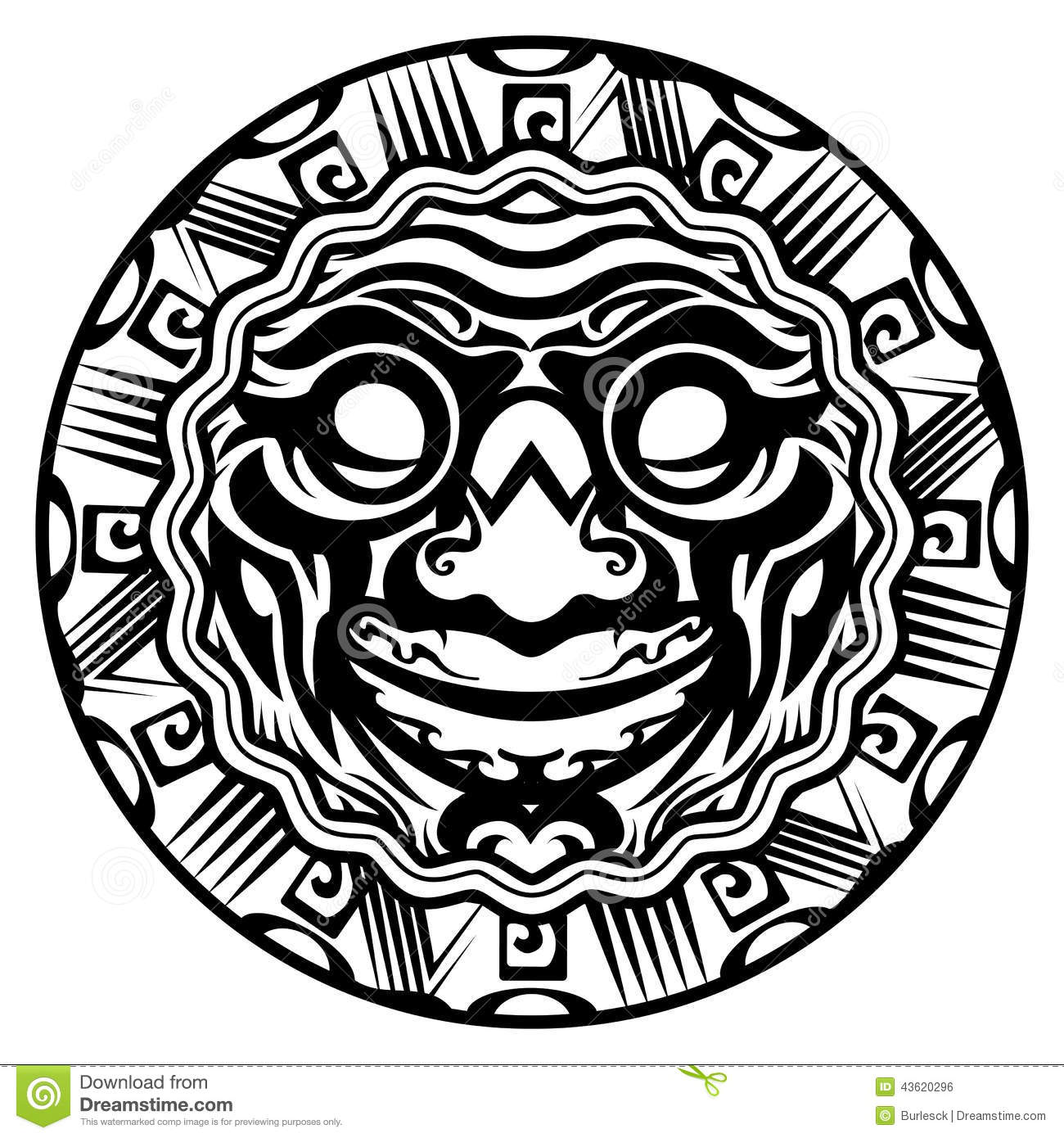 Round Vector Smiling Face Polynesian Tattoo Isolated White Background