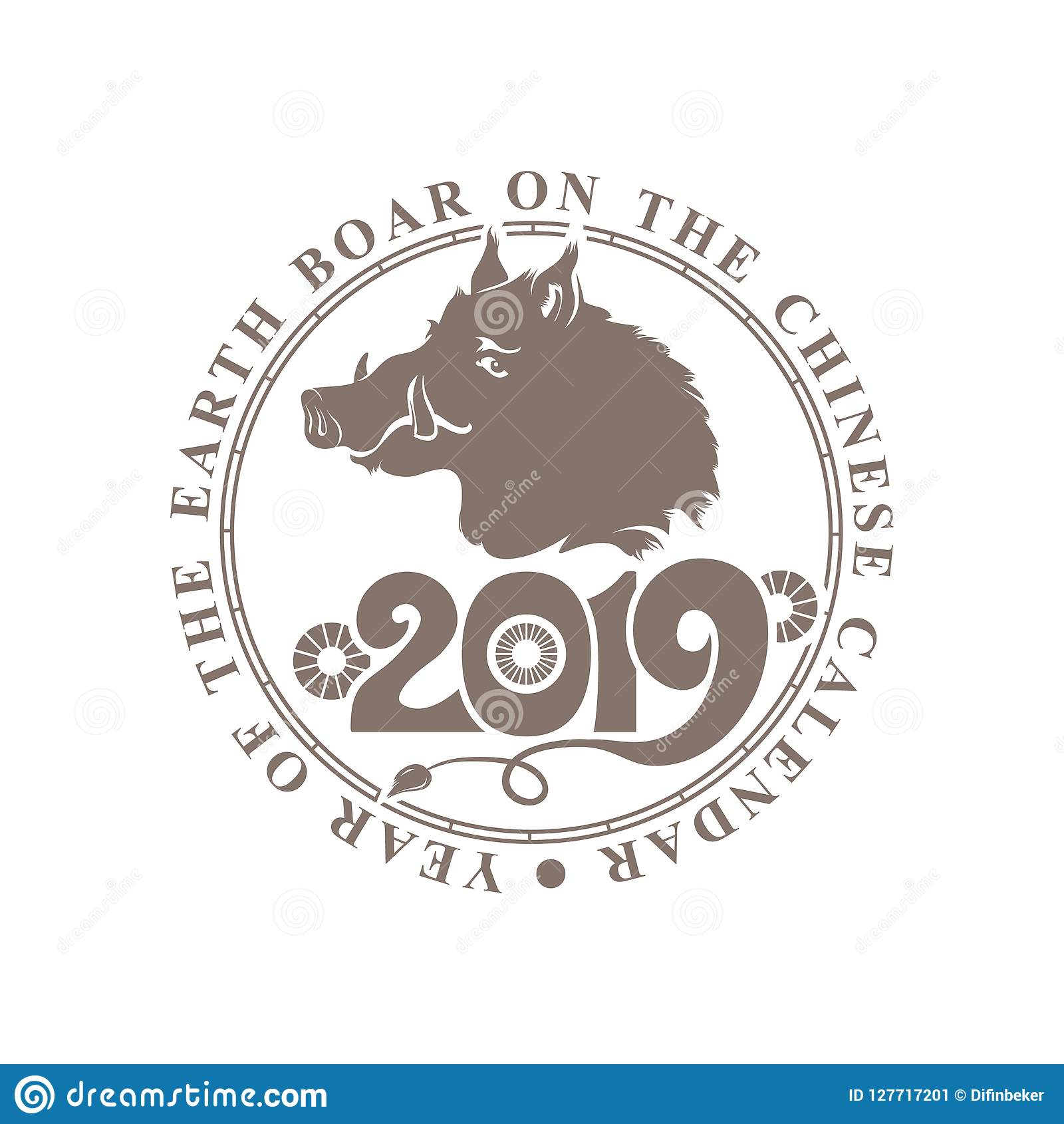 Round Vector Stamp Chinese Zodiac Sign Year Of The Boar Concept Chinese New Year 2019 Stock Illustration Illustration Of Bright Stamp 127717201
