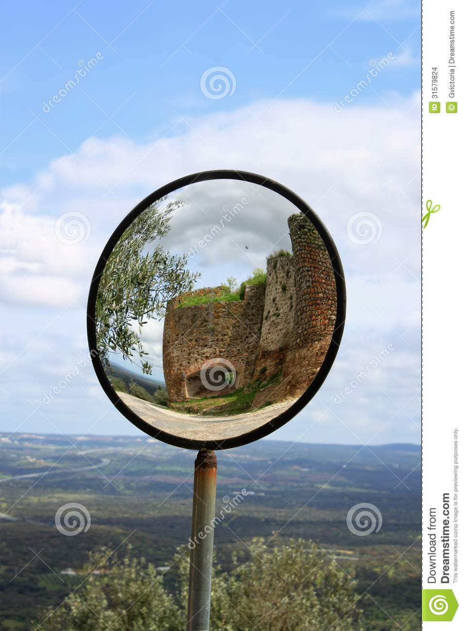 Round View Mirror In Evoramonte Stock Photo Image Of