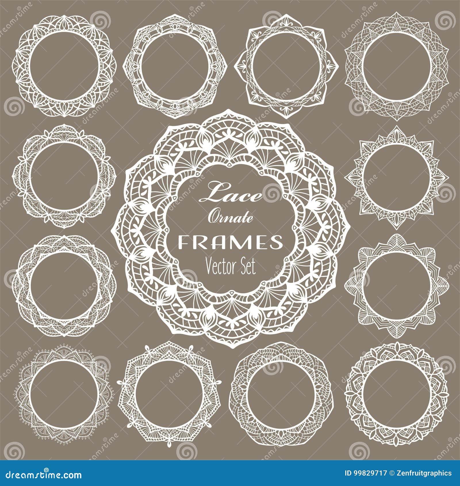 Round vintage lace frames, white napkins for elegant wedding invitation card, text or photo. Laser cut set, round mandala ornament