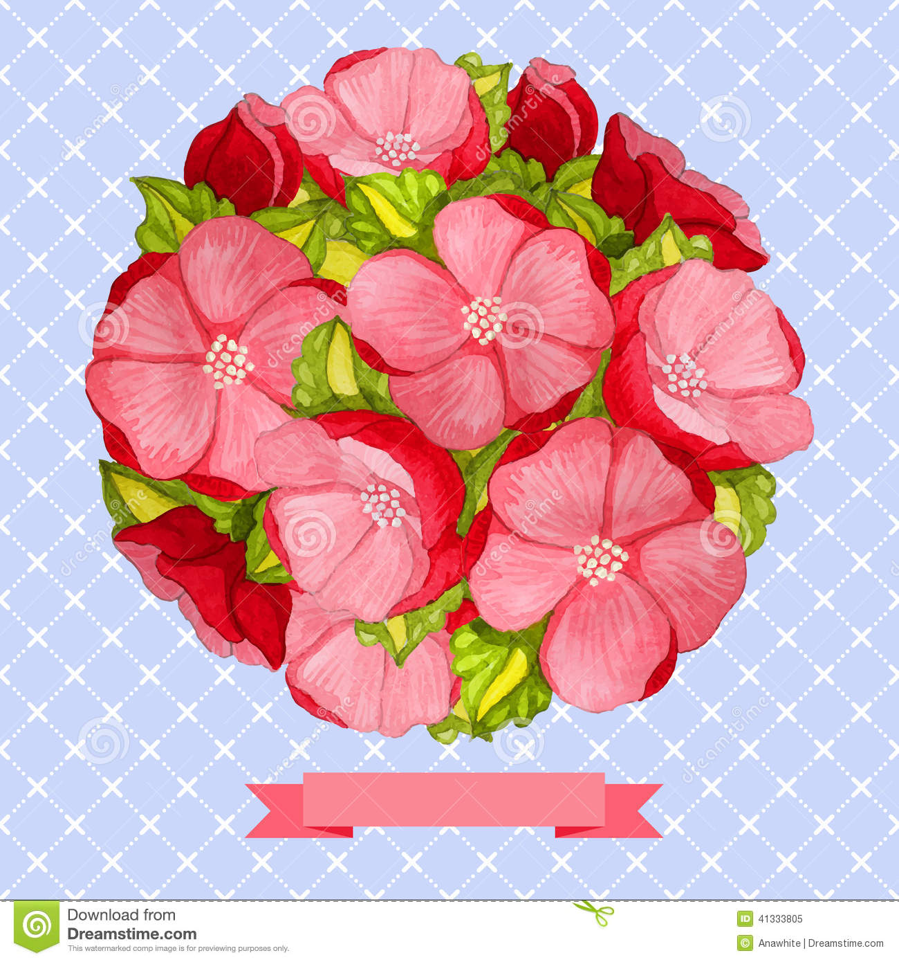 Round Vintage Watercolor Bouquet Of Pink Flowers Stock Vector