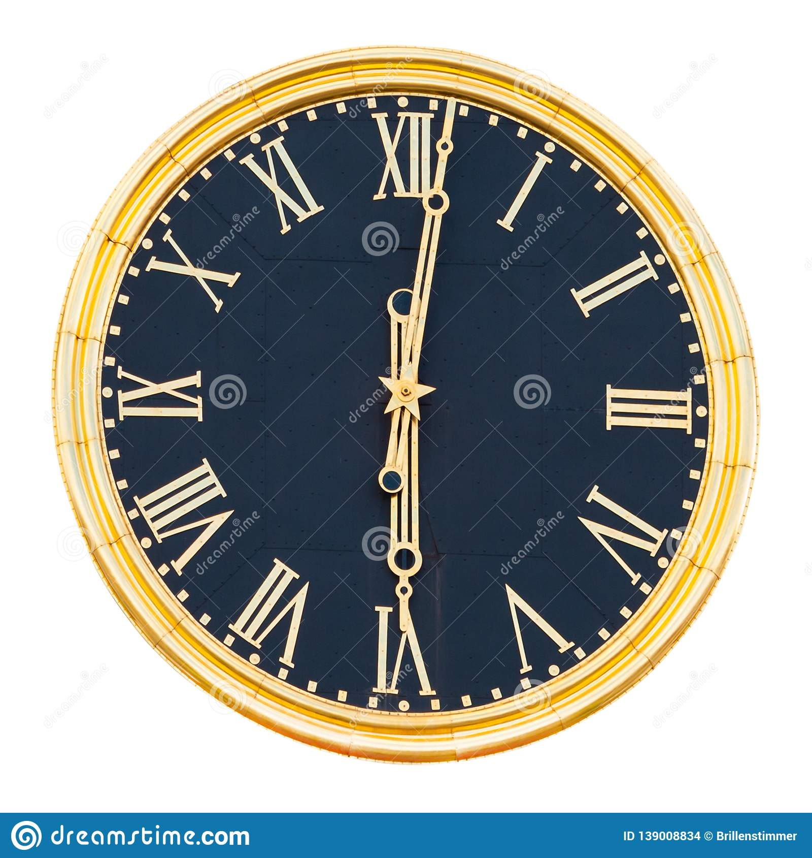 Round clock with gilded dial and hands, isolated on a white background