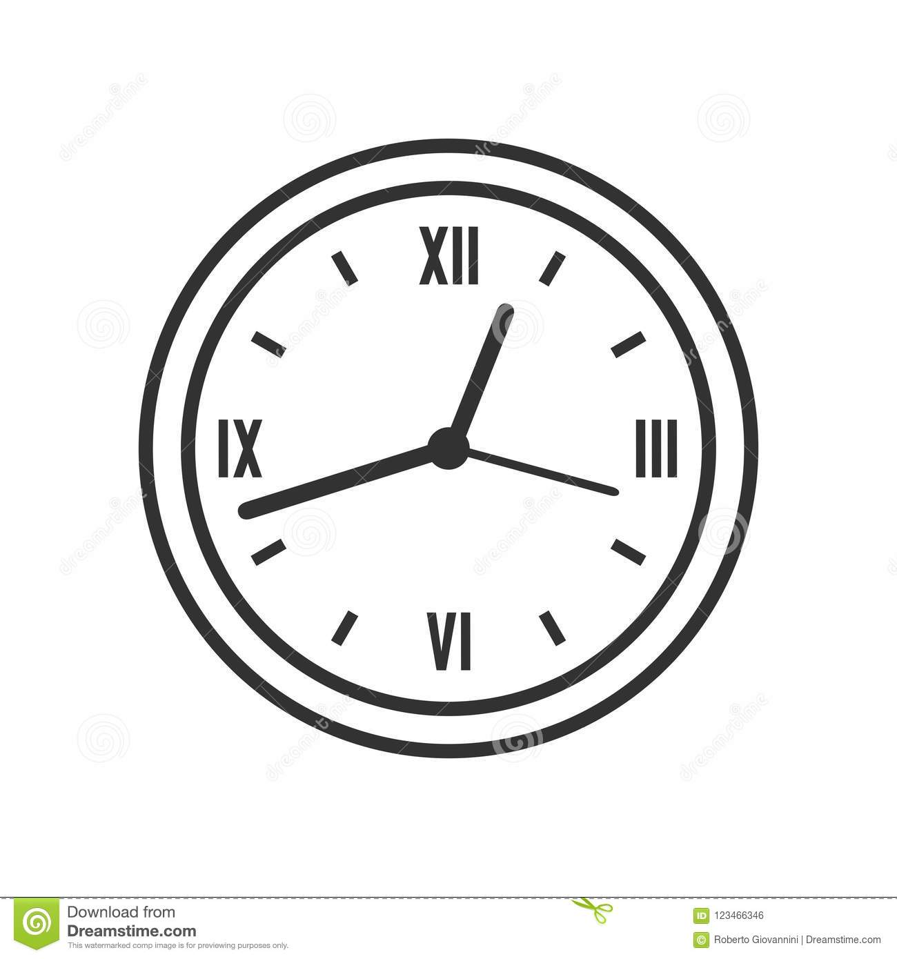 Wall Round Clock Outline Flat Icon on White