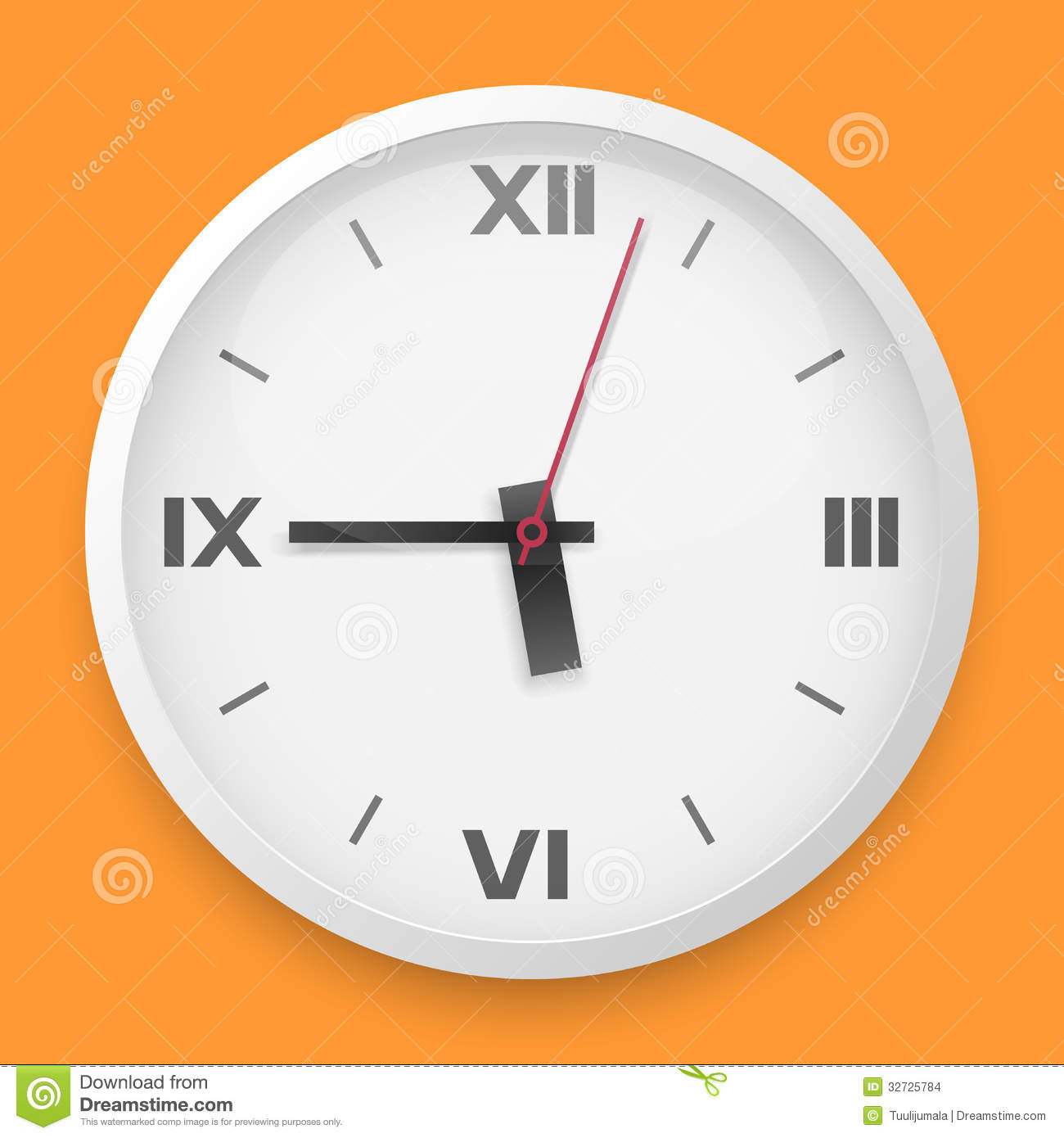 Round Wall Clock Template Stock Vector Illustration Of