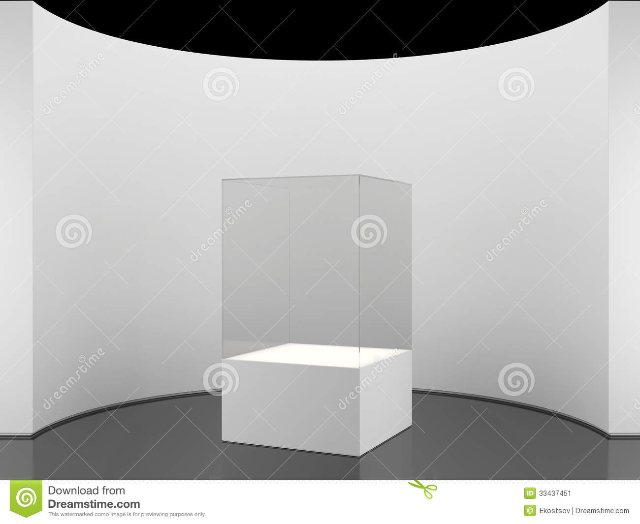 Exhibition Stand White : Round wall with exhibition stand stock illustration