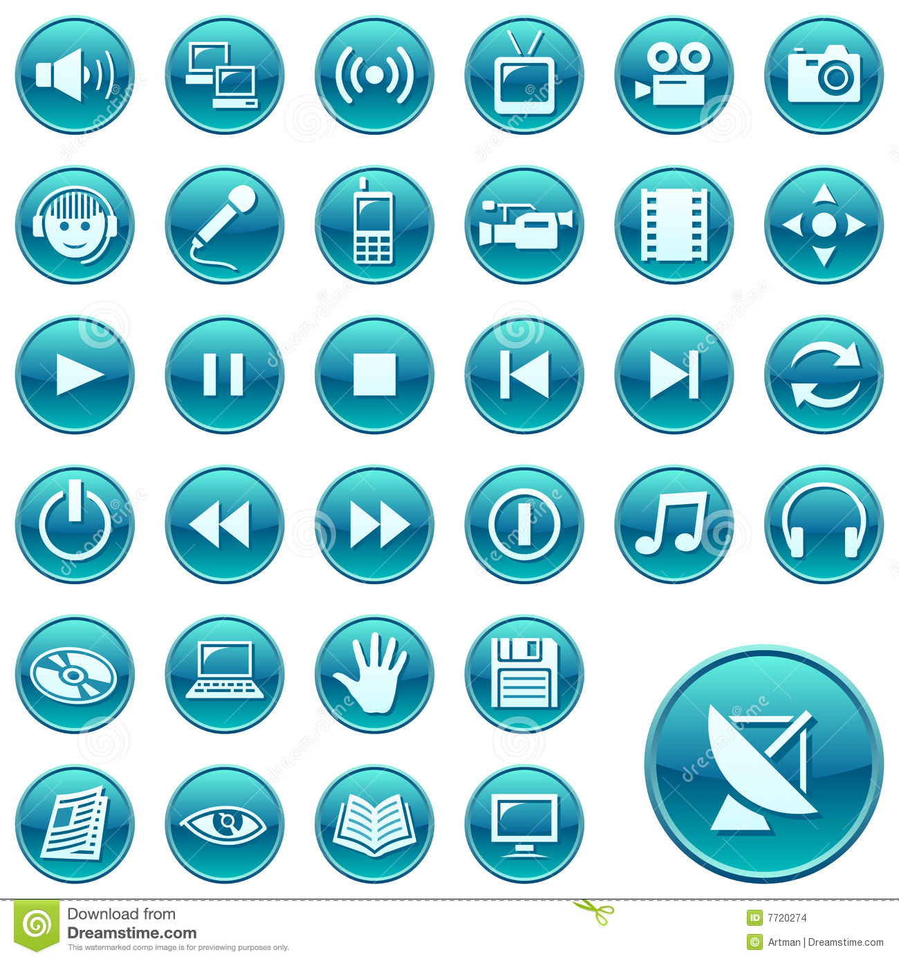 Abstract Social Media Watercolor Icons Set: Round Web Icons / Buttons 3 Stock Images