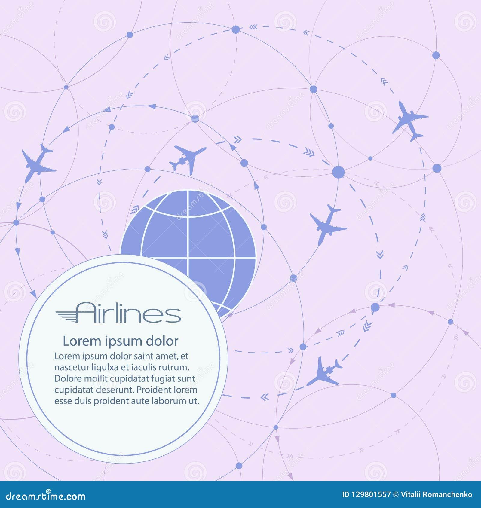 Round wektoru sztandar Lot samolot na całym świecie Pasażerski lotniczy transport Biznesowe wycieczki turysyczne, czas wolny i tu