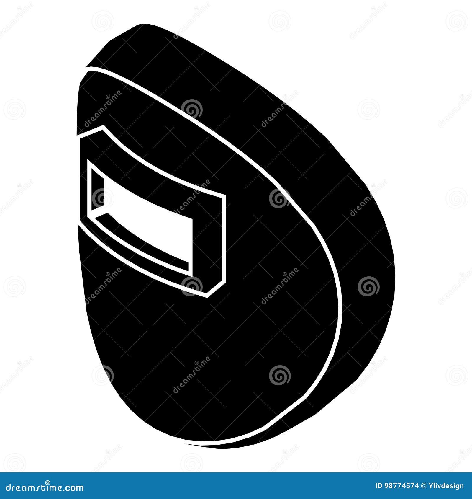 Round Welding Mask Icon Simple Black Style Stock Vector Helmet Diagram