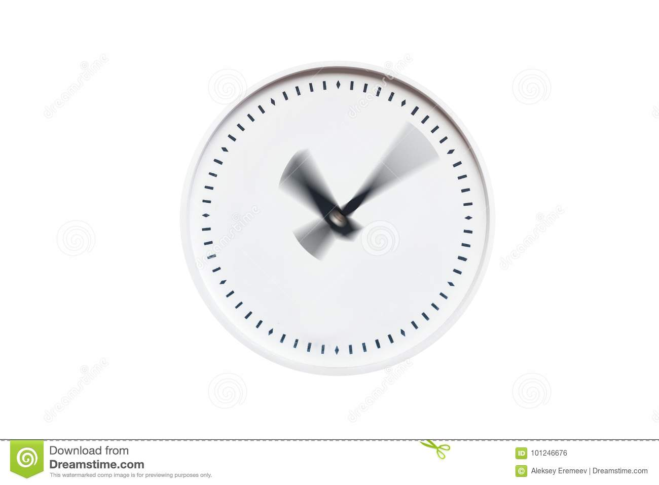 Round White Clock Without Numbers On White Isolated Background Stock