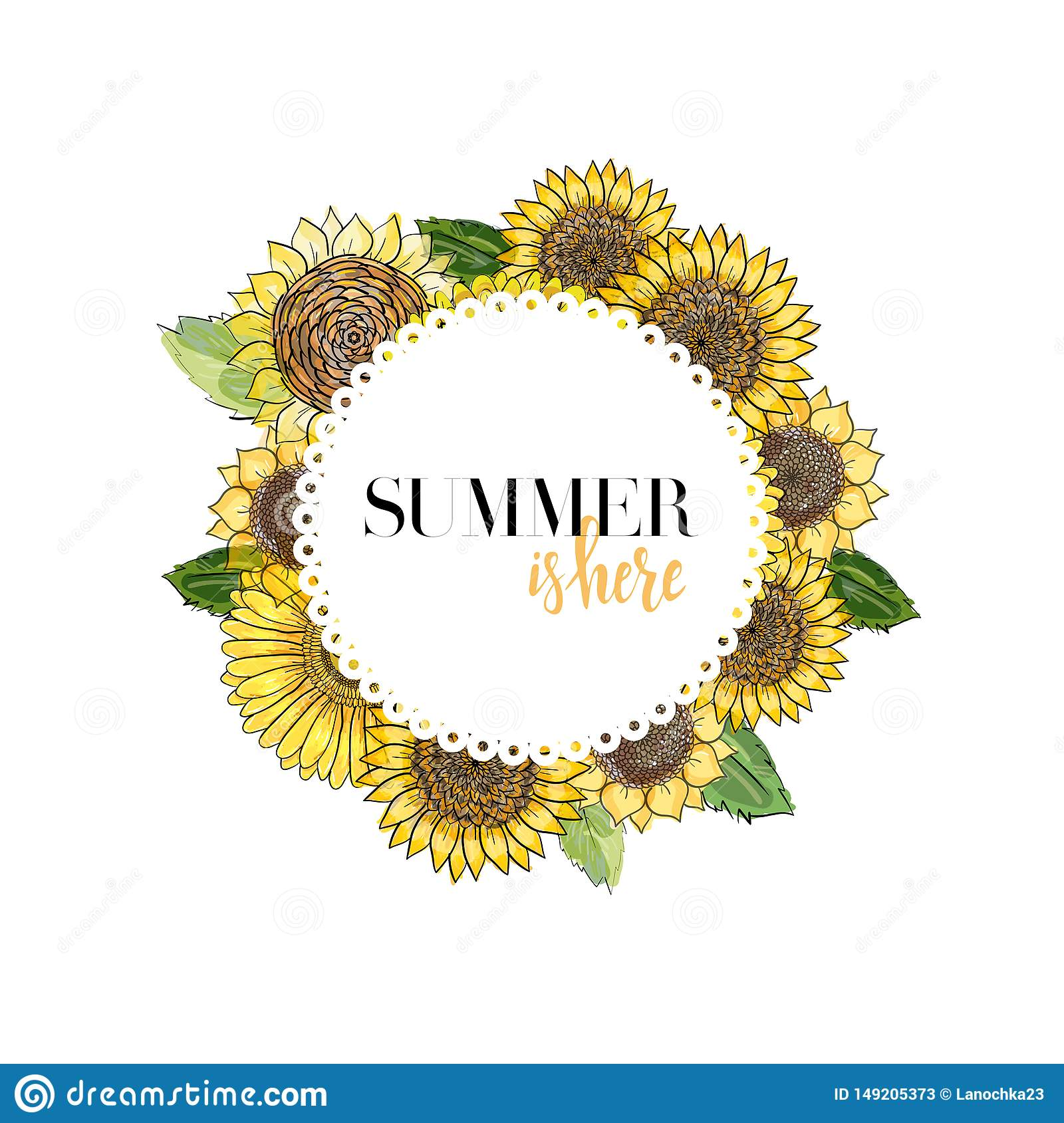 Round white frame with lettering decorated with flowers gerbera and sunflowers, sketch vector graphic color illustration on white