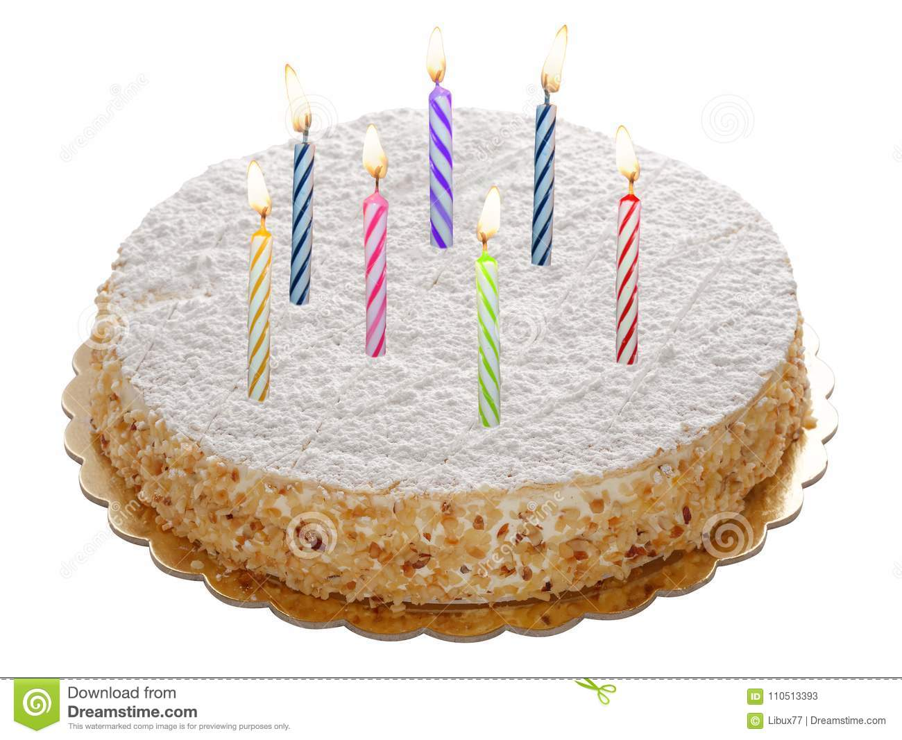 Round whole cake with lit candles isolated