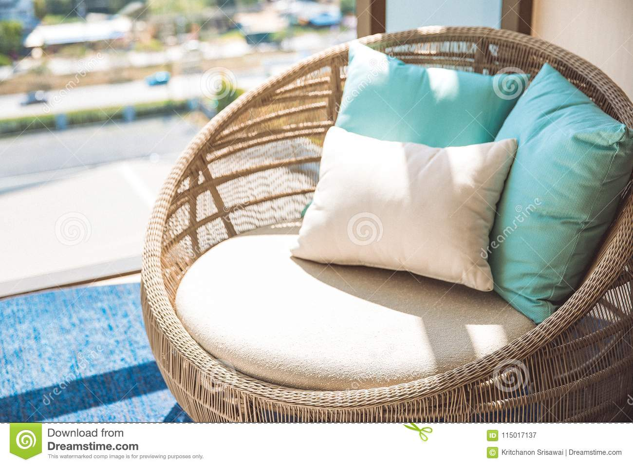 Round Wicker Wood Chair With White Cushion And Comfort