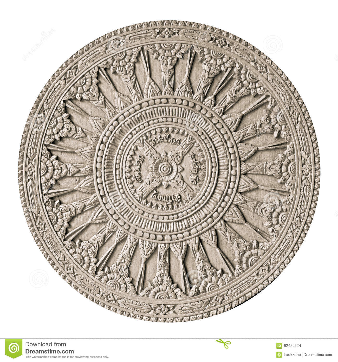 Round wood carving stock photo image of centered asian