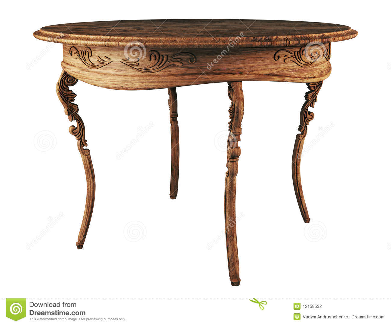 Old Wooden Table ~ Round wooden antique table d stock illustration