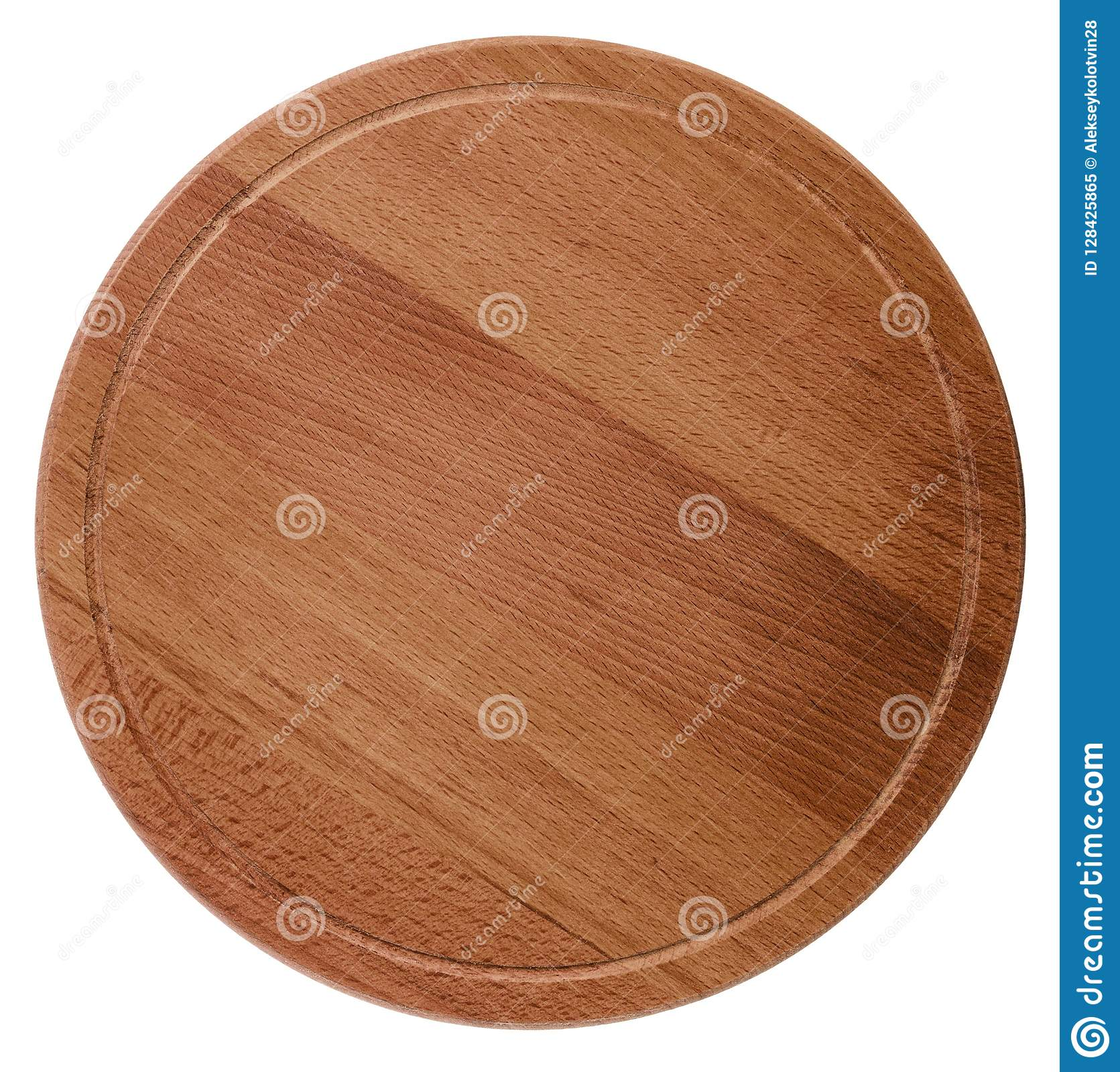 Round Wooden Cutting Board Isolated On White Background Stock Image Image Of Preparation Food 128425865