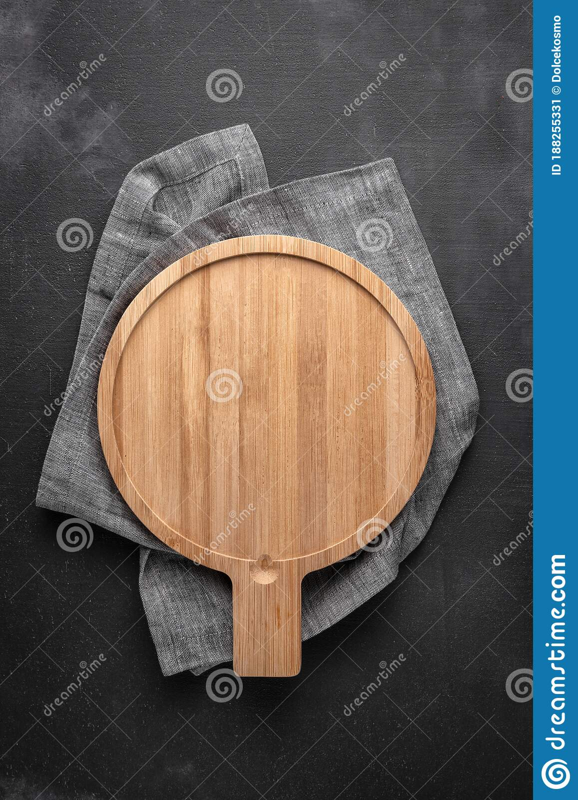 Round Wooden Cutting Board With Tablecloth In The Middle Of A Black And Gray Background Free Space For Your Text Top View Stock Image Image Of Copy Decorative 188255331