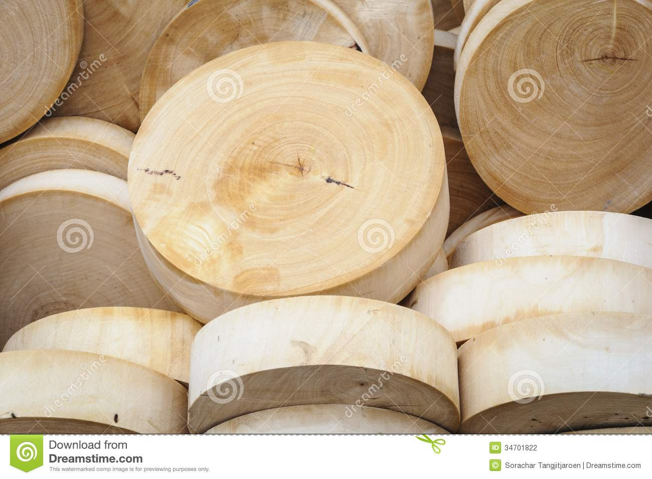 round wooden cutting boards in market. stock photography  image, Kitchen design