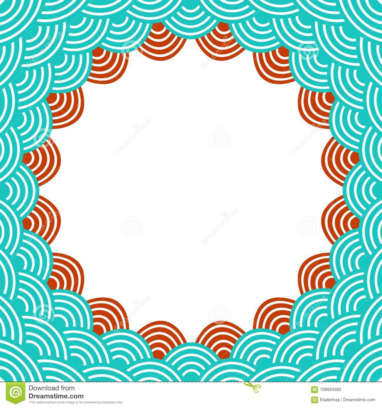 Round Wreath Composition Frame For Your Text Fish Scales Simple Nature Background With Japanese Wave Circle Pattern Turquoise Blue Teal Burgundy Maroon