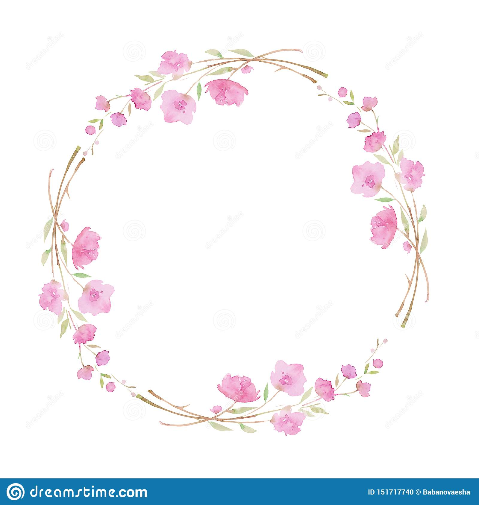 Round Wreath Frame With Cherry Blossom Sakura Branch With Pink Flowers Watercolor Illustration Stock Illustration Illustration Of Decorative Banner 151717740