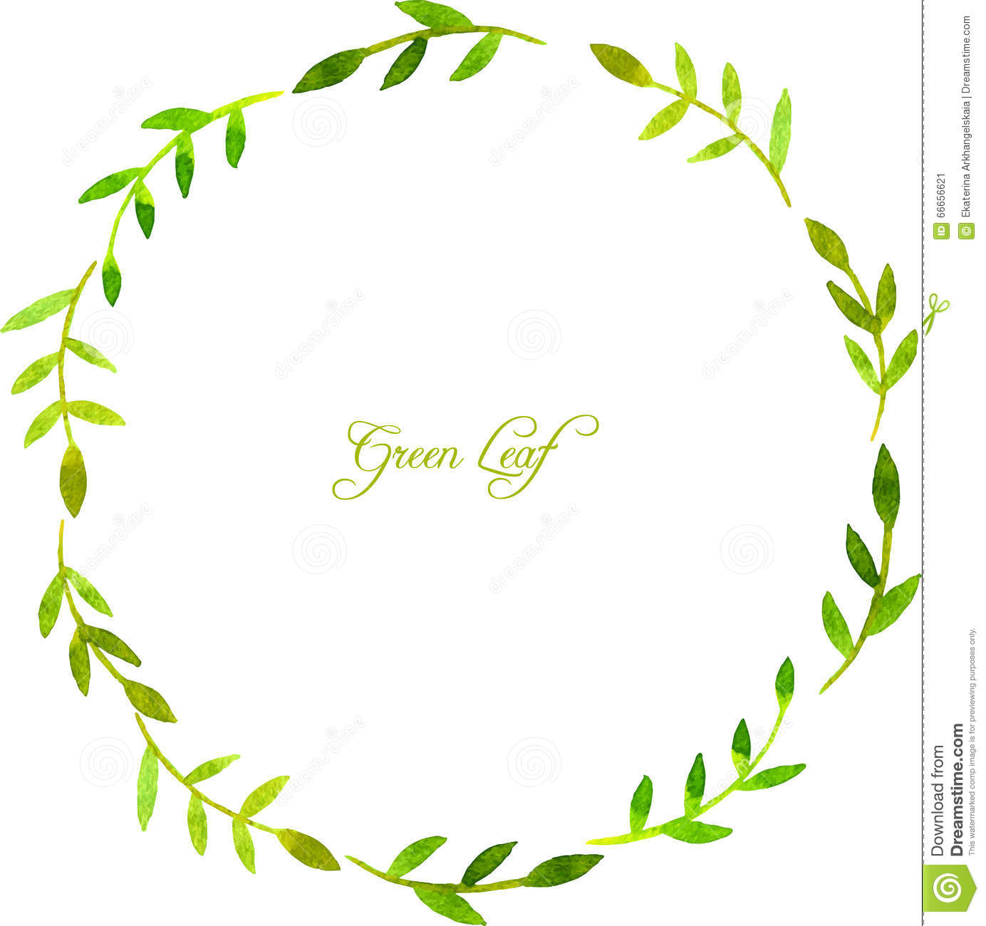 round wreath with watercolor green leaves and branches stock vector