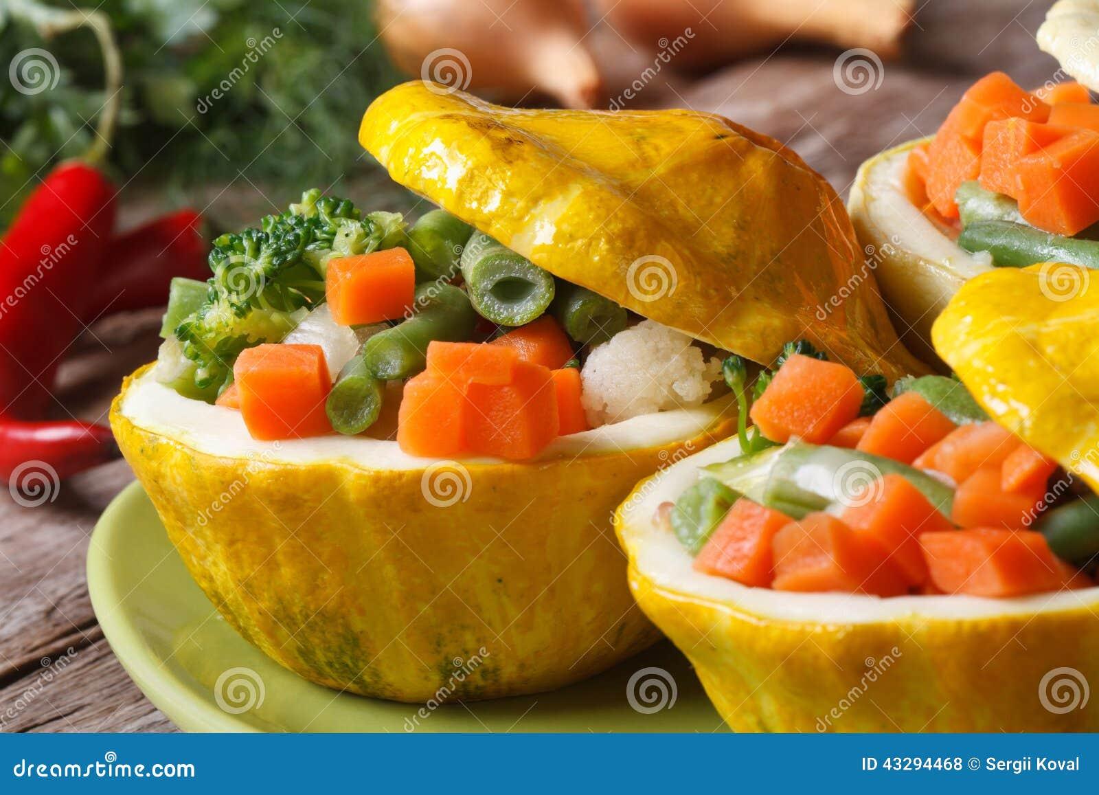 Round Yellow Squash Stuffed With Vegetables Horizontal ...