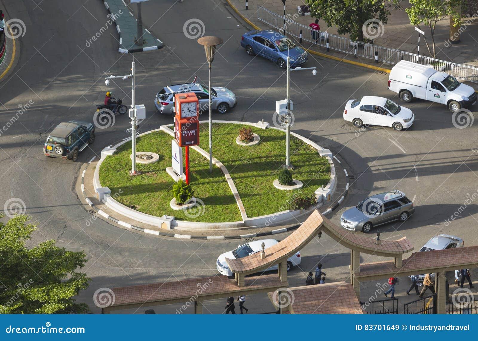 Roundabout At City Hall Road In Nairobi, Kenya, Editorial Editorial Stock Image